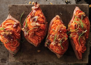 Twice-Baked Sweet Potatoes with Bacon Sesame Brittle from Bon Appetit