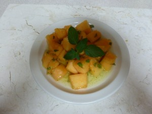 Cantaloupe with Lime Ginger Mint Sauce